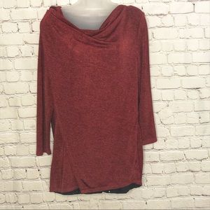NY collection ladies red blouse cowl neck large